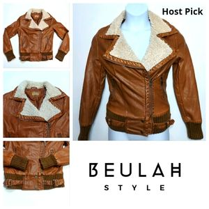 BEULAH Faux Leather Bomber Jacket Women's Small